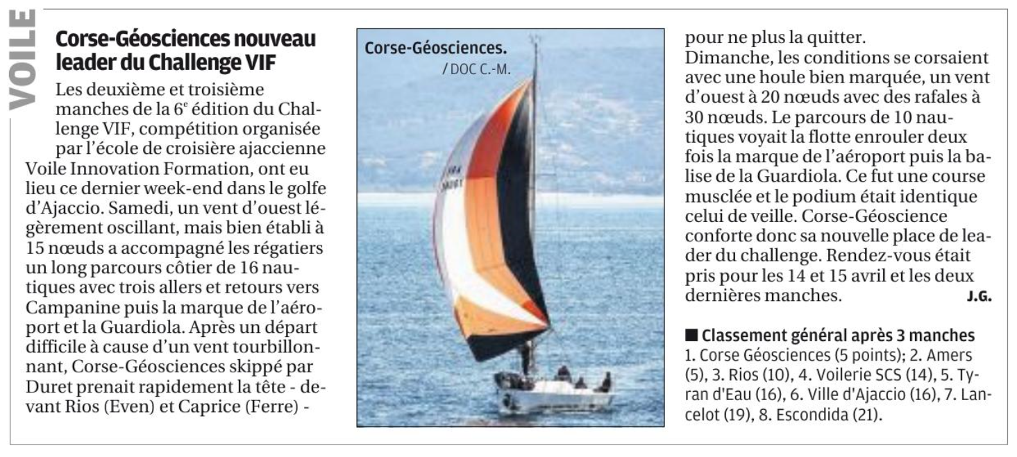 Corse-matin Manches 2 & 3 Challenge VIF 2018